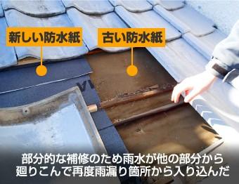 部分的な補修のため雨水が他の部分から 廻りこんで再度雨漏り箇所から入り込んだ様子
