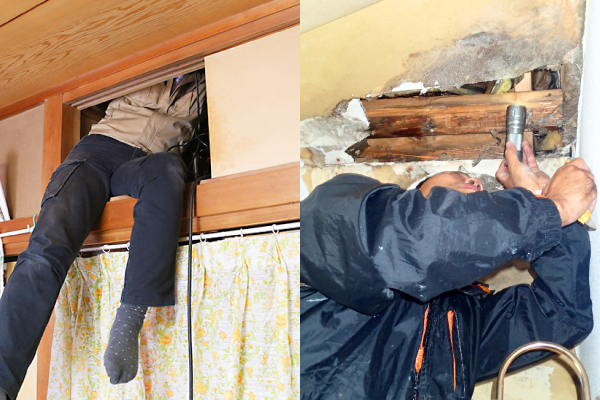 室内の見えない部分、上下水管からの漏水の可能性も疑います