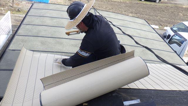 安曇野市三郷 屋根葺き替え ルーフィング