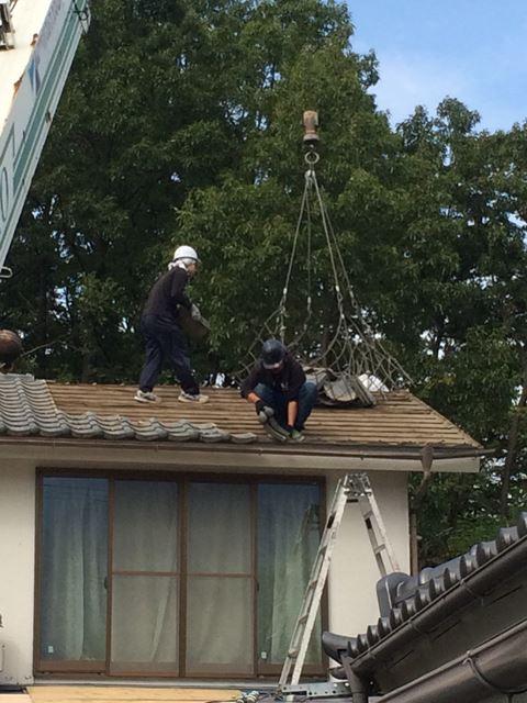 松本市中山屋根葺き替え瓦おろし