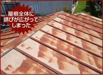 屋根全体に錆びが広がってしまった